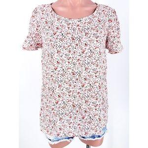 Les Amis Chiffon Pink Floral Ruffle Sleeve Top